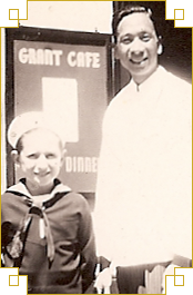 My father in front of his restaurant Grant Café<br />San Francisco, circa 1940
