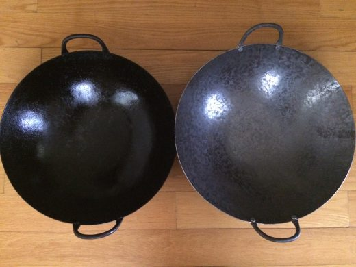 Mr. Cen's Cantonese-Style hand-hammered woks: my 16 year-old well used wok (left); new wok.